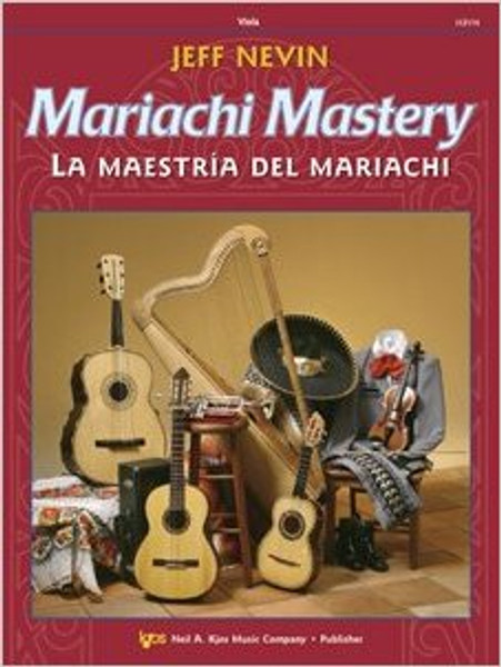 """Mariachi Mastery - Violaby Jeffrey W. NevinMariachi Mastery - Viola12 classic mariachi songs are featured in this new bilingual method, Mariachi Mastery, from the Neil A. Kjos Music Company. Each song is preceded by graduated exercises to help your students learn to play in the correct style - from Ranchera Valseada to Son Jalisciense. The CD that comes with each student book is ideal for home practice use. Frequent """"Mastering Mariachi"""" lessons will give your students the edge they need to sound like professional mariachi musicians! Songs include: De Colores, La Bamba, La Llorona, Tristes Recuerdos, and El Caballito!Mariachi Mastery is perfect for use by a traditional mariachi ensemble. The optional Viola (112VA), and Cello & Bass (112CO) books will make this an ideal supplement to your string orchestra curriculum - or add those instruments to make a """"symphonic"""" mariachi! All studies and songs are playable by Violinists, Violists, and Trumpeters who have completed one year of study on their instrument. Guitarists and Harpists may begin their instrument with Mariachi Mastery!Product Details:10-digit ISBN Number: 0849734584Media: Music BooksInstrumentation: ViolaSeries: • Mariachi MasteryEdition Number: 112VA"""