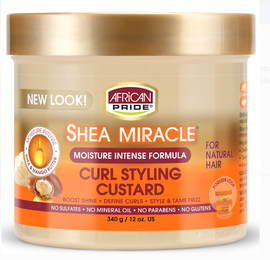 African Pride Shea Butter Miracle Moisture Intense Curl Styling Cream Custard For Wavy, Curly, Coily Hair with Shea Butter