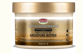 This Moisture Butter is specially crafted with a blend of Black Castor Oil, Shea Butter and Jojoba Oil to penetrate hair strands and deeply moisturize before braided, weaved or protective styles. Helps to prepare hair for extended styles by providing long-lasting hydration. Great before braids, crochets, weaves, and protective styles.