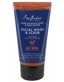 MEN AFRICAN BLACK SOAP & SHEA BUTTER FACIAL WASH & SCRUB