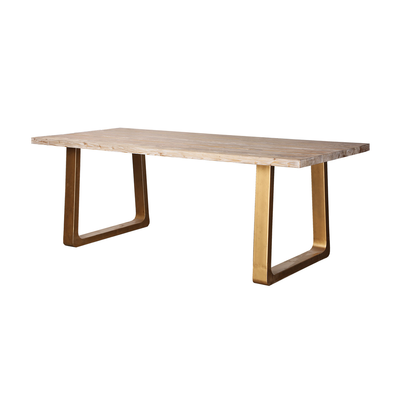 Reclaimed Wood Dining Table Metal Legs(KD)-white wash