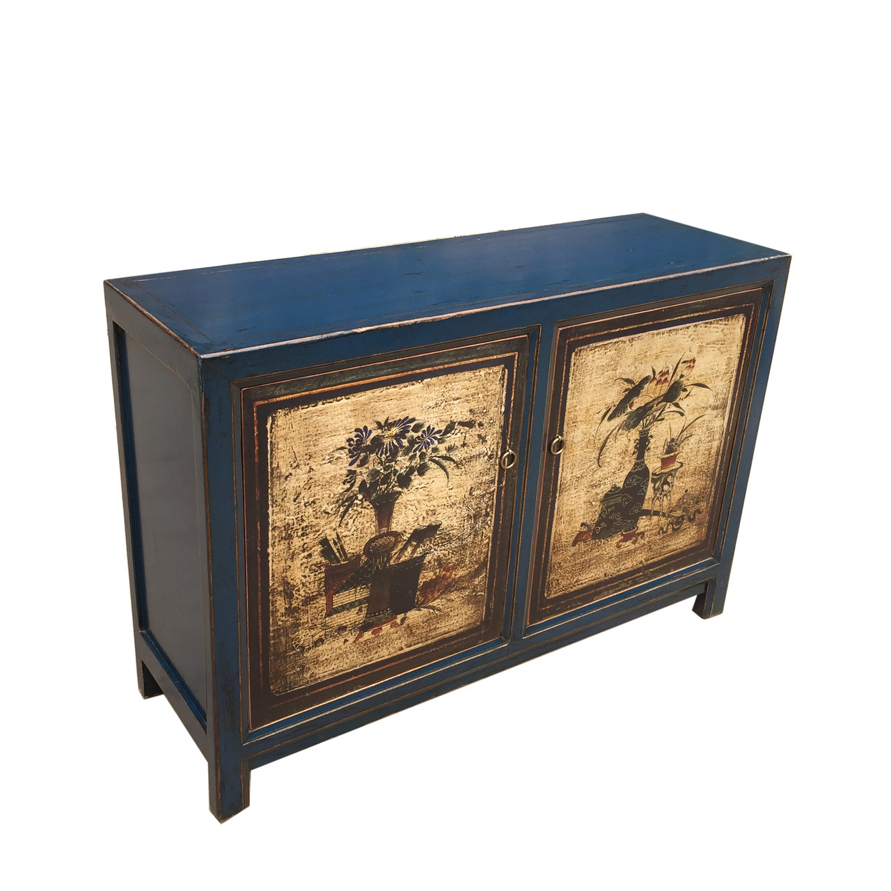 Picture of: Painted Buffet Antique Blue Floral Doors Lily S Living