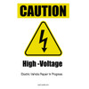 Electric Vehicle High Voltage Caution Sign - Cone Collar-7