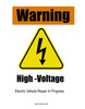 Electric Vehicle High Voltage Warning Sign - Cone Collar-7