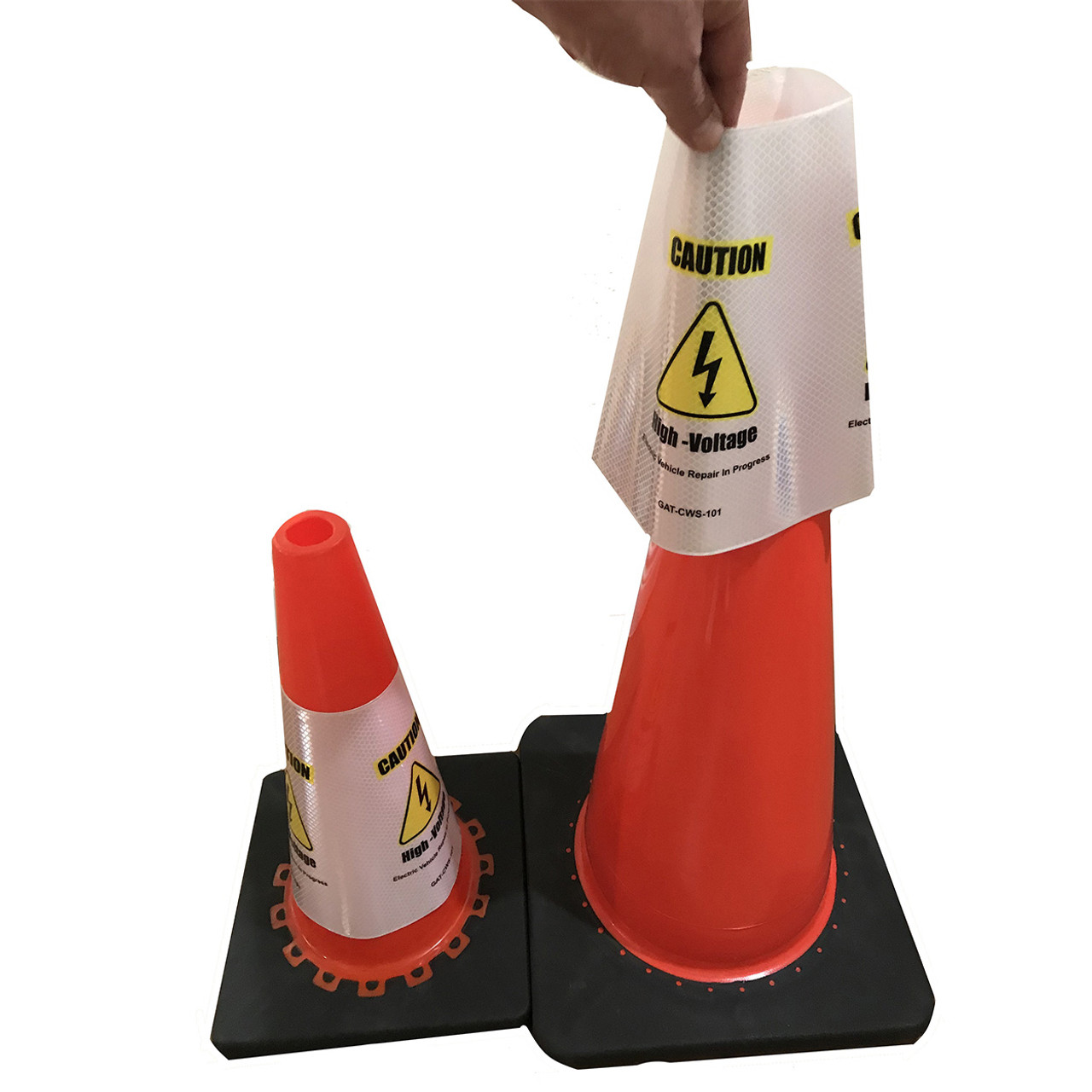 Electric Vehicle High Voltage Caution Sign - Cone Collar