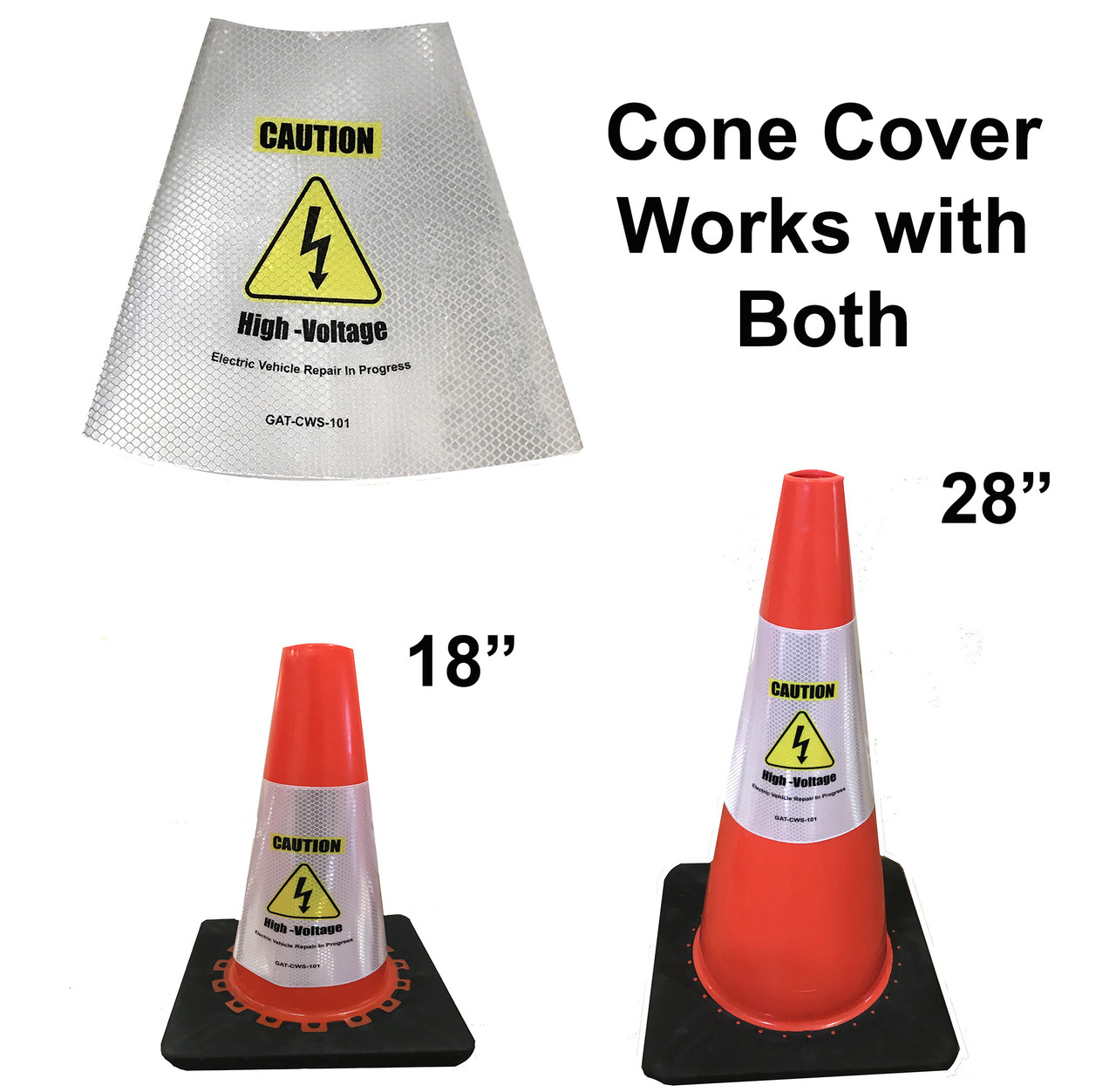 Electric Vehicle High Voltage Caution Sign - Cone Collar-4