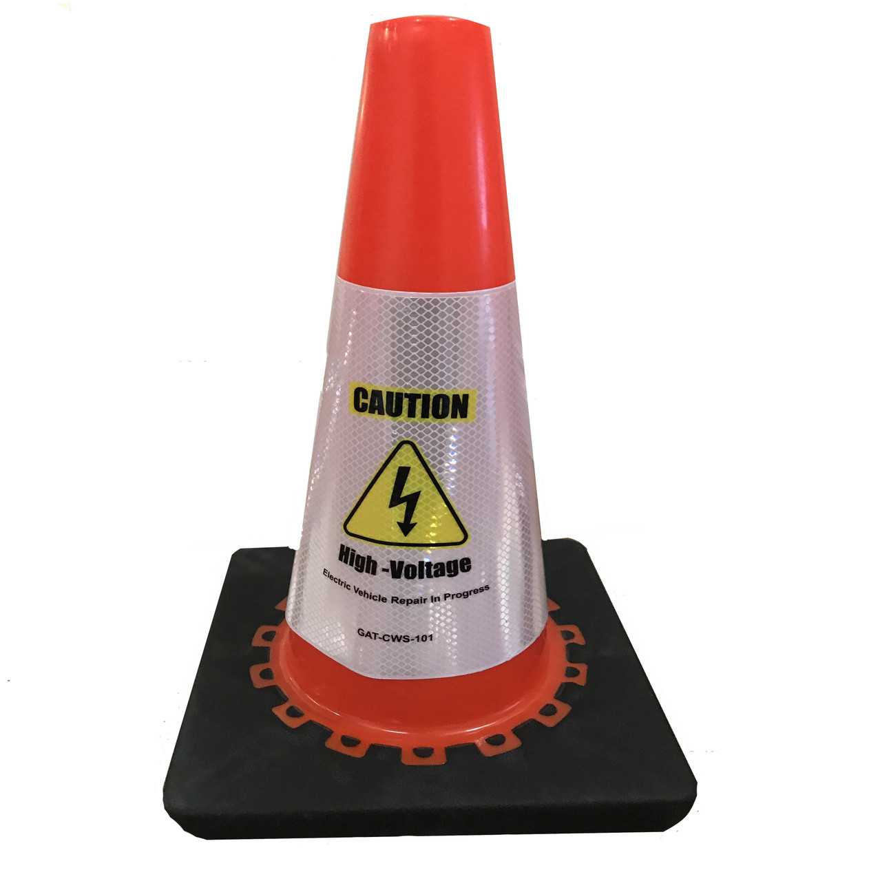 Electric Vehicle High Voltage Caution Sign - Cone Collar-5