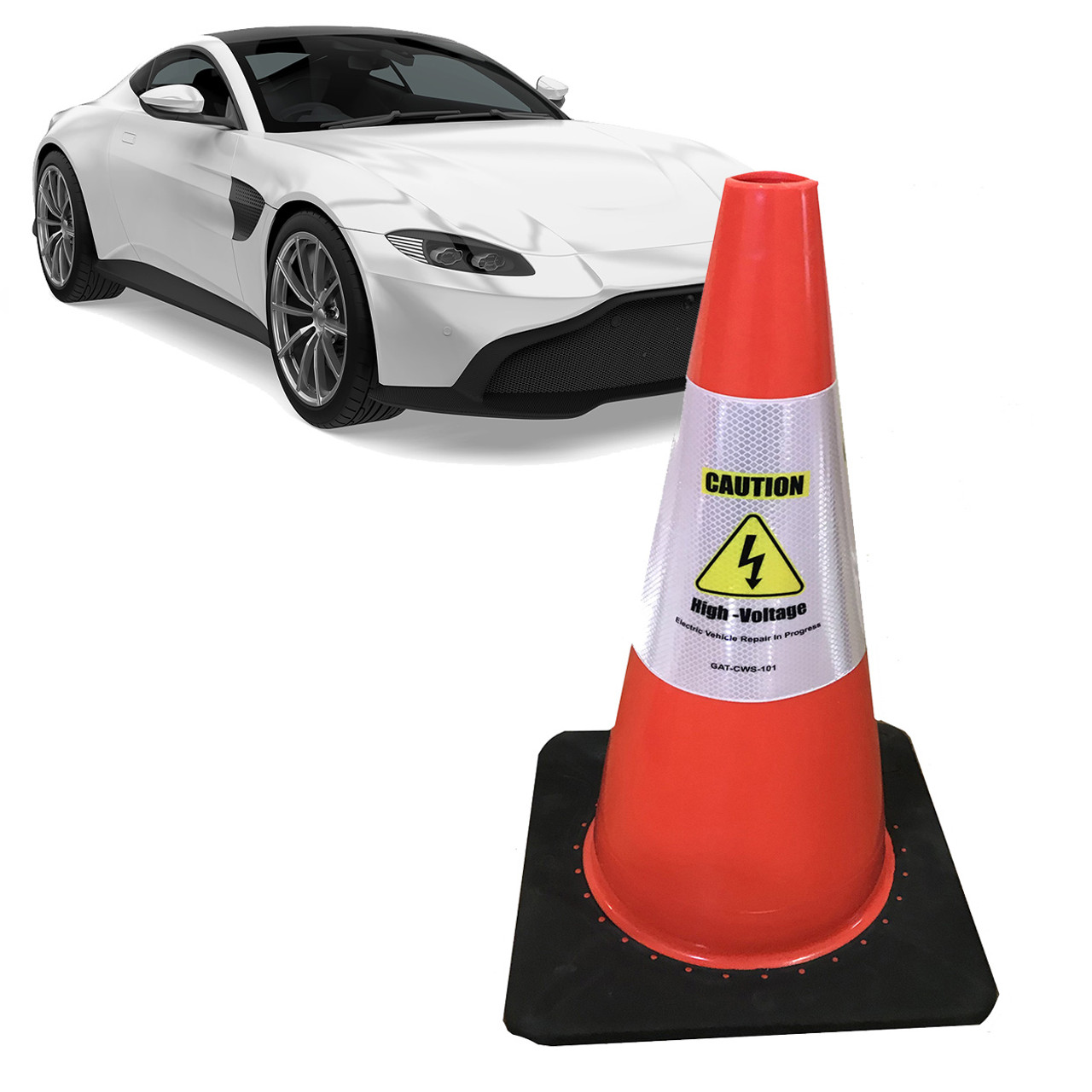 Electric Vehicle High Voltage Caution Sign - Cone Collar-8