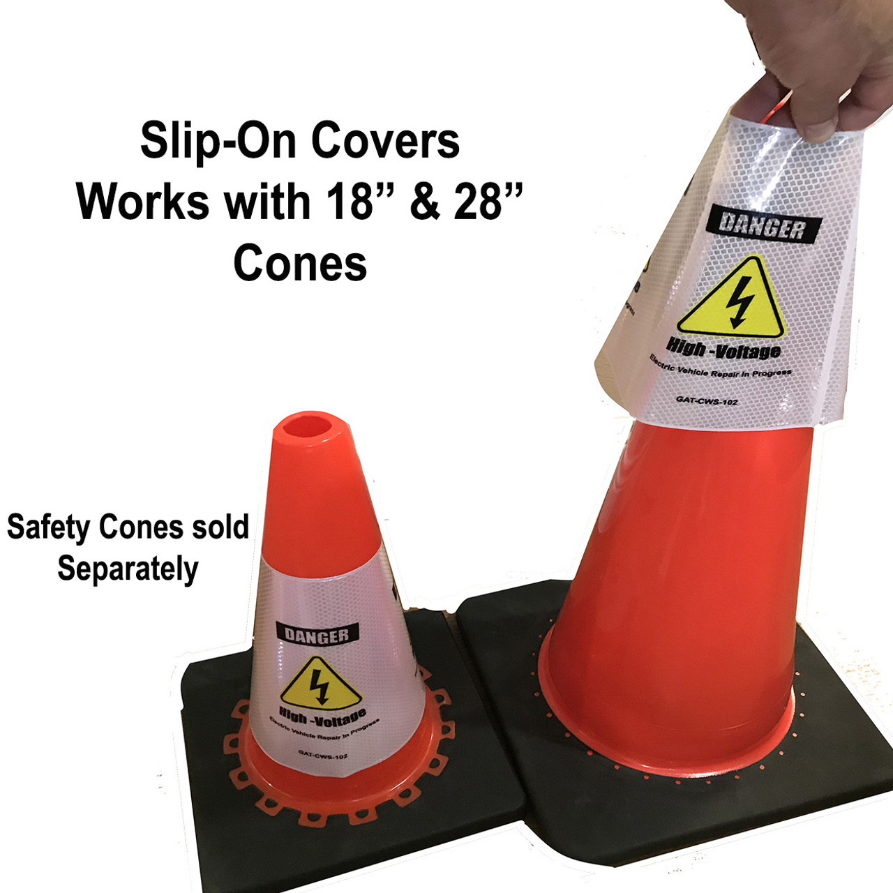 Electric Vehicle High Voltage Danger Sign - Cone Collar-2