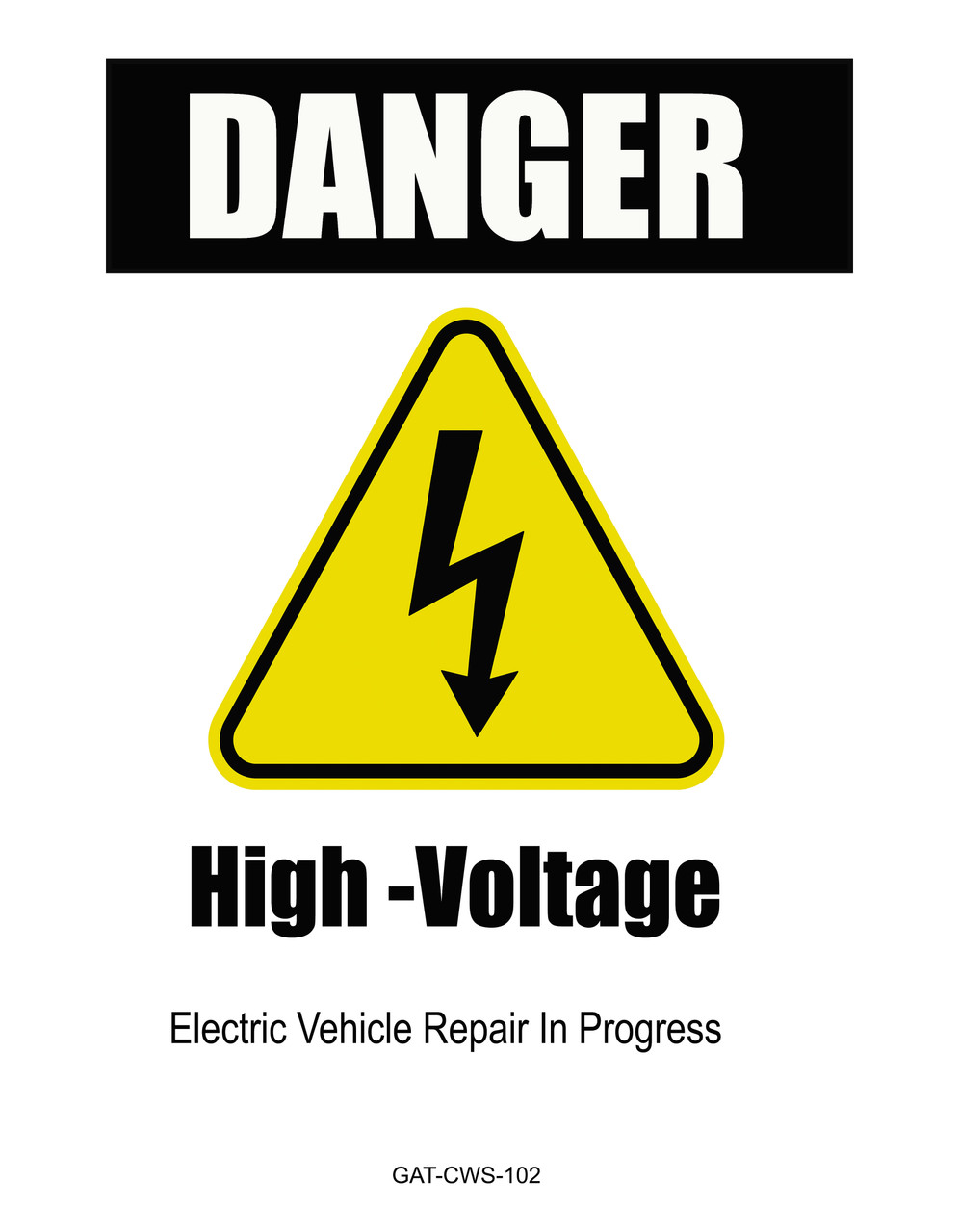 Electric Vehicle High Voltage Danger Sign - Cone Collar-7