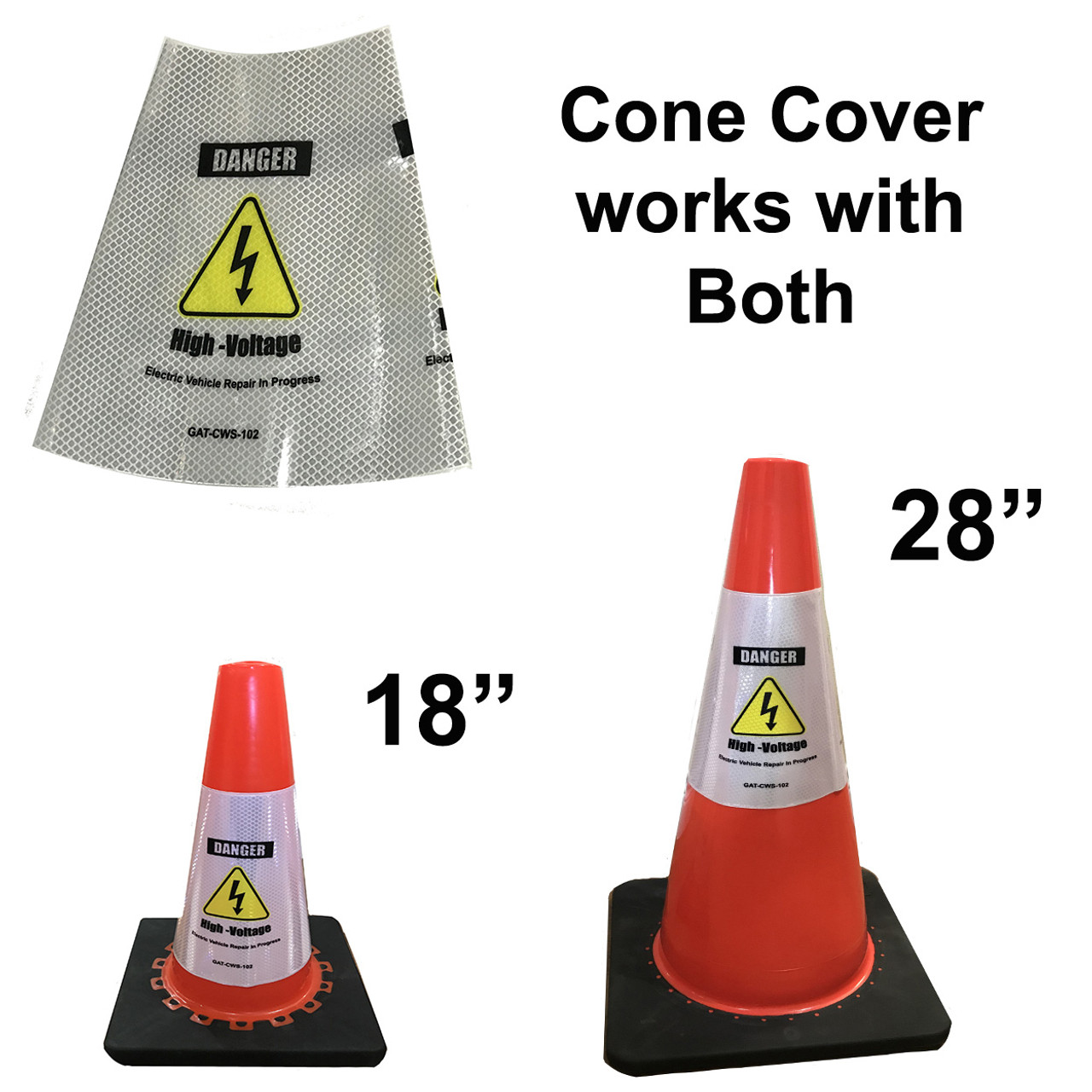 Electric Vehicle High Voltage Danger Sign - Cone Collar-3