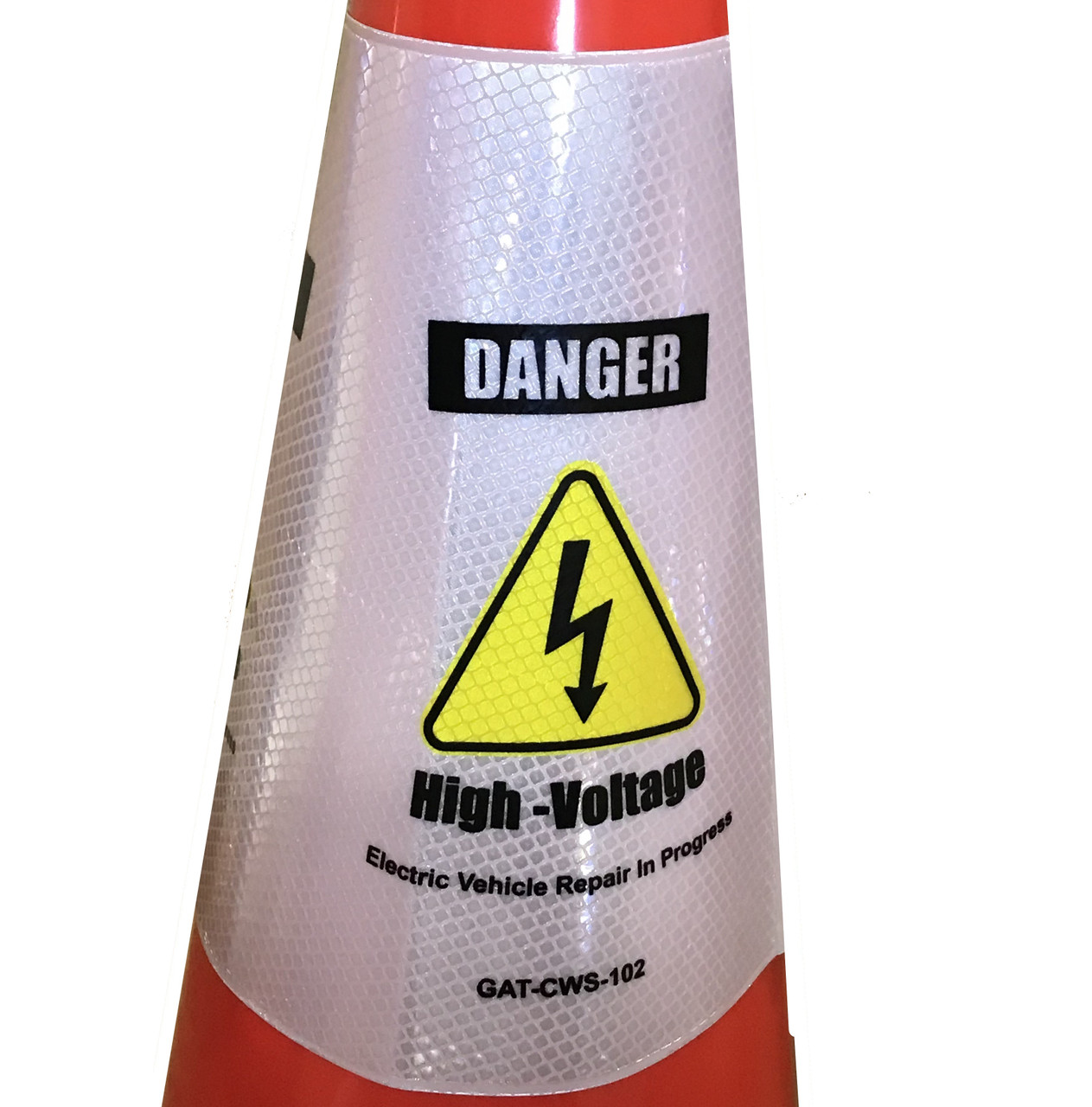 Electric Vehicle High Voltage Danger Sign - Cone Collar-4