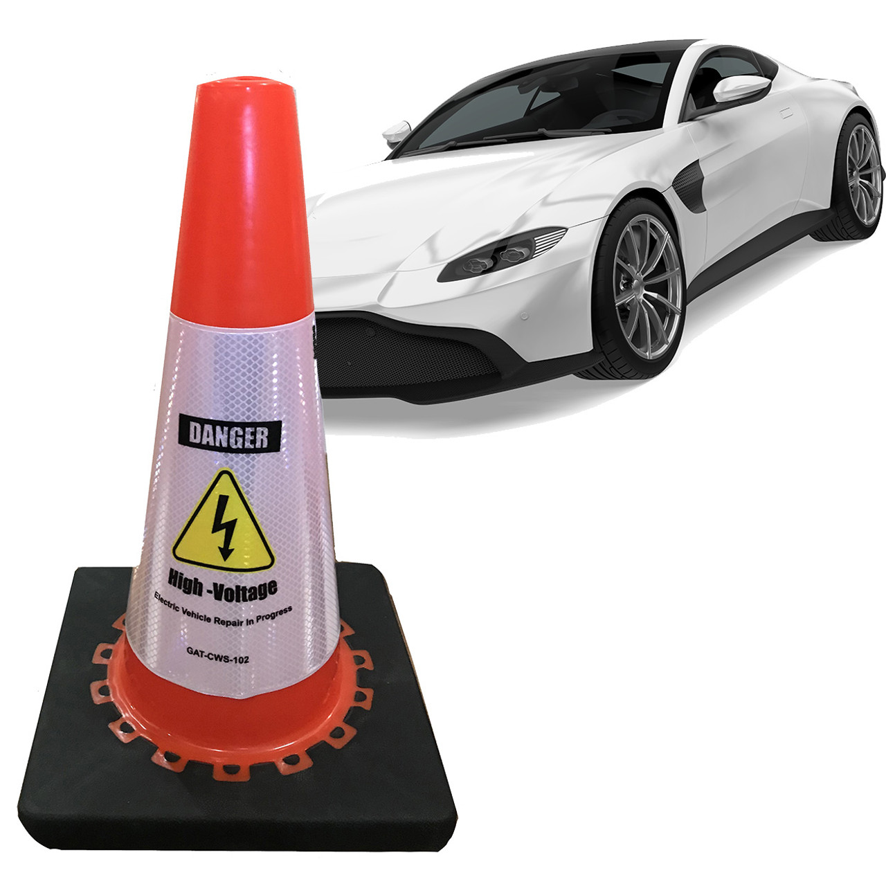 Electric Vehicle High Voltage Danger Sign - Cone Collar-8