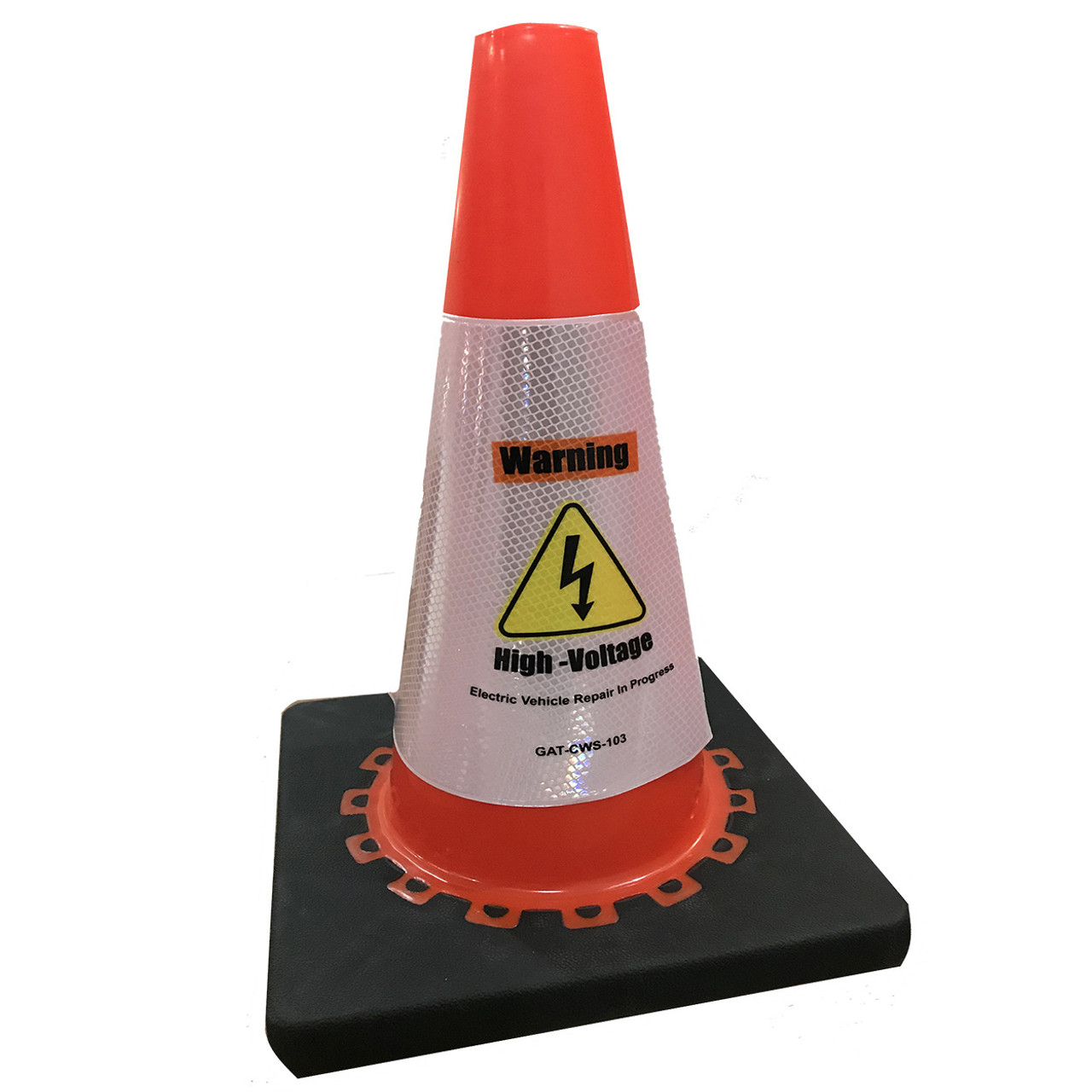 Electric Vehicle High Voltage Warning Sign - Cone Collar-1