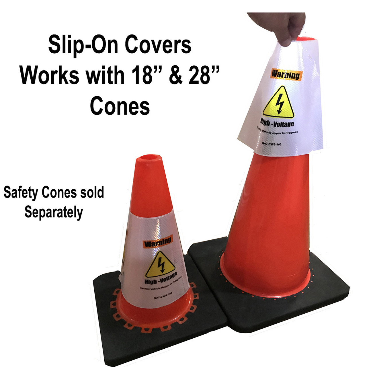 Electric Vehicle High Voltage Warning Sign - Cone Collar-2