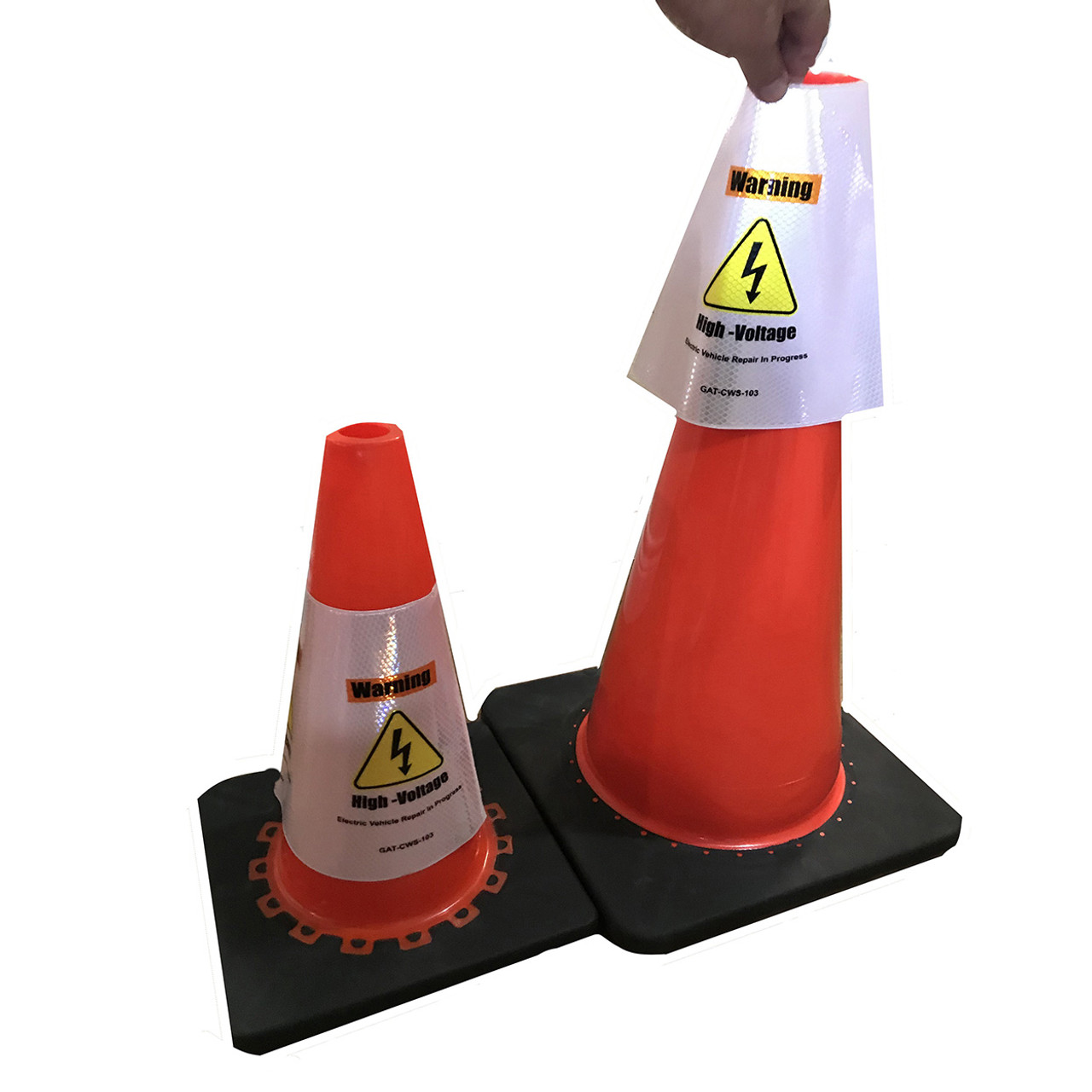 Electric Vehicle High Voltage Warning Sign - Cone Collar