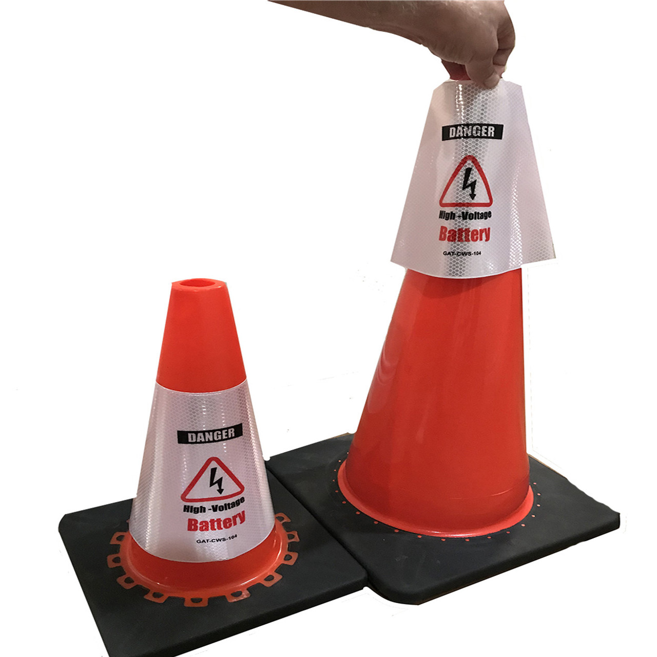 Electric Vehicle High Voltage Battery Sign - Cone Collar