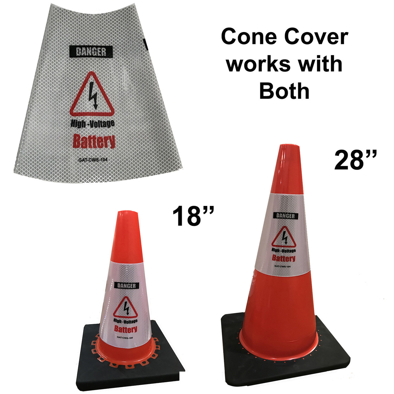 Electric Vehicle High Voltage Battery Sign - Cone Collar-5
