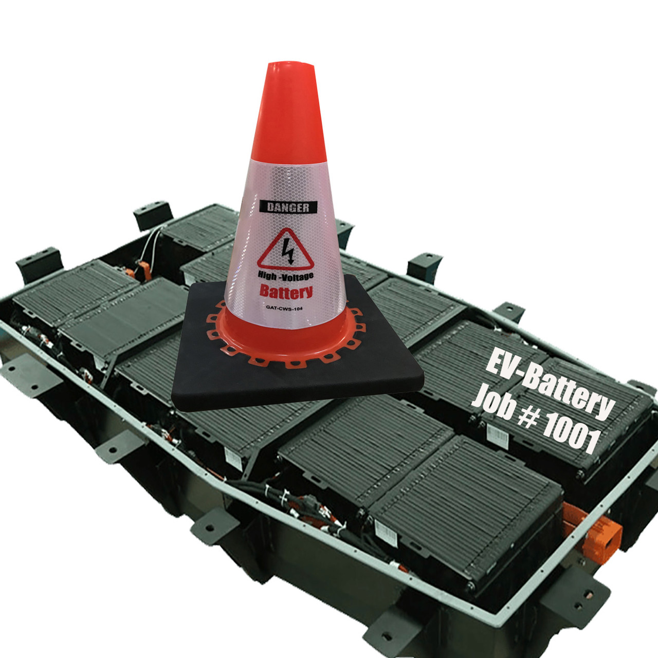 Electric Vehicle High Voltage Battery Sign - Cone Collar-1