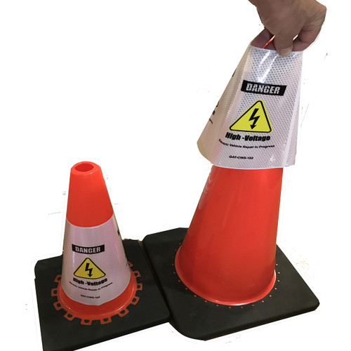 Electric Vehicle High Voltage Danger Sign - Cone Collar