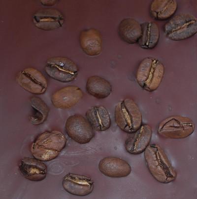 100% Arabica dark roasted coffee beans wrapped in dark chocolate.