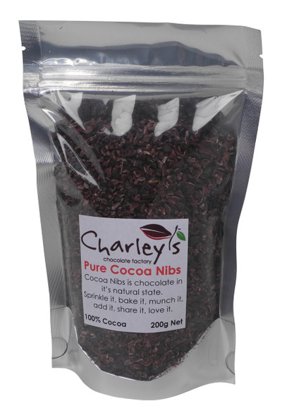200 gram Net Cocoa Nibs, 100% Cocoa - chocolate in its purest form and made in Australia.