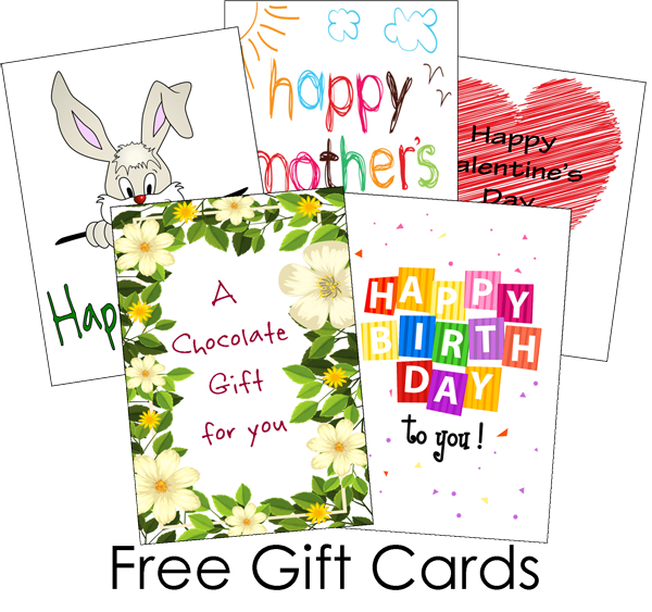 Chocolate occassion gift cards