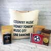 Custom Linen tote bag filled with Your choice of wording filled with Prohibition Popcorn, Jack Daniels Pecans, Yogurt Pretzels, Willa's Shortbread and Tennessee Note card