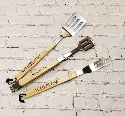 When the weather finally warms, there's no better time to fire up the grill. Give your favorite grill master this personalized three-piece set of BBQ utensils, including a spatula, fork, and tongs.