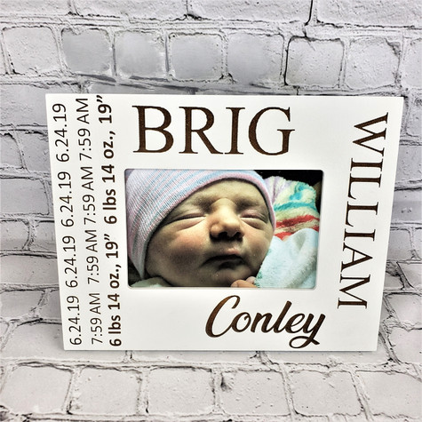 Engraved baby frame with full name, birth date, time, height and weight.  The perfect keepsake gift.