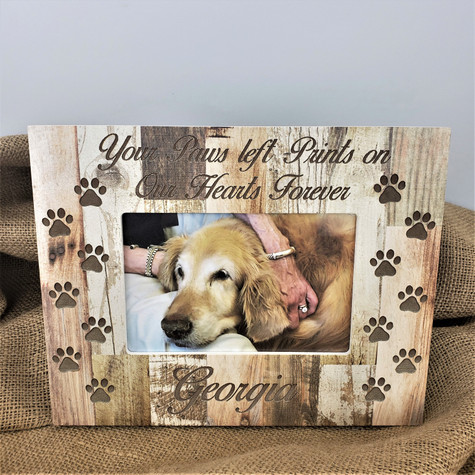 Engraved and Personalized Paw Prints on our heart photo frame