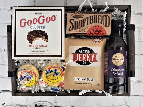 Something to share with the group….This rustic decorative box is filled with Tennessee treats with plenty to share with the group. Includes Willa's Shortbread, Southern Jerky, Mini Moon Pies, Goo Goo clusters and Mimi Jo's Fruit Tea. Great way to tell someone thank you for a job well done!