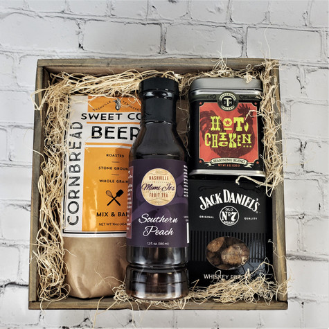 Keep it spicy! Great way to send a southern gift. Includes J.M. Thomasan Hot chicken mix, Jack Daniels Praline Pecans, Sweet Cobb Beer Cornbread Mix and Mimi Jo's Peach Tea