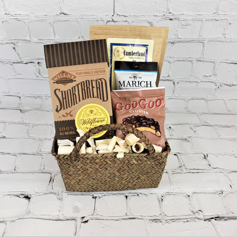 Snack basket includes Willa's shortbread, Goo Goo Cluster, Marich Caramels, ad Cumberland Valley Coffee