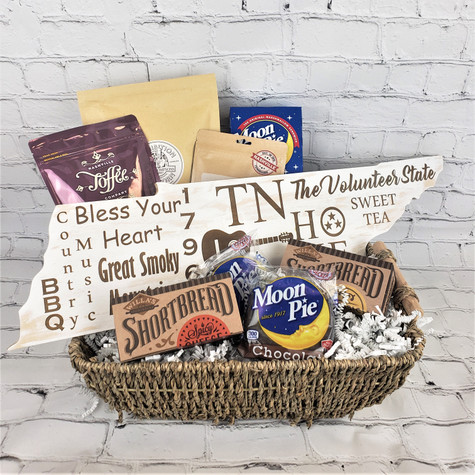 Seagrass Basket filled with Willas Shortbread, Moonpies, Southern Jerky, Prohibition Popcorn, Nashville Toffee and Engraved Tennessee Sign