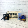 Nashville Zipper Pouch with your choice of wording filled with Jack Daniels Pecans, Goo Goo Cluster and Moonpie