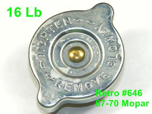 67-70 Mopar Radiator Cap OE Style All Models A/B/C/E Body 16 Lb Zinc SM CO  #646