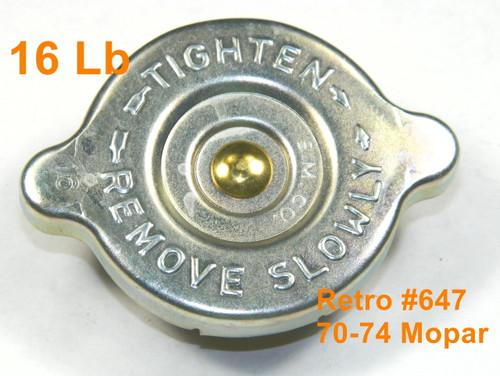 70-74 Mopar Radiator Cap OE Style All Models A/B/C/E Body 16 Lb Zinc SM CO #647