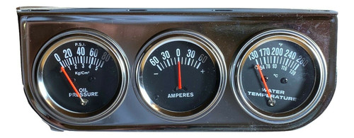 Triple Gauge Set Oil Pressure/Ammeter/Water-Temp Gauges w/ Hardware #221