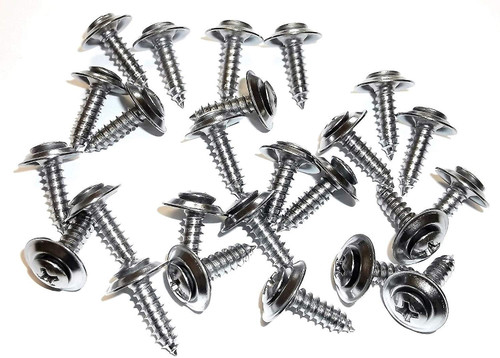 #10 x 3/4 Phillips Loose Washer Chrome Trim Screws Ford GM Mopar (Qty-25) #1075