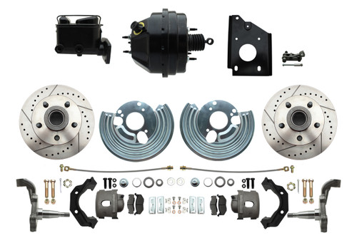 66-70 Satellite Charger Front Disc Brake Kit Power Booster Drilled Slotted #1477