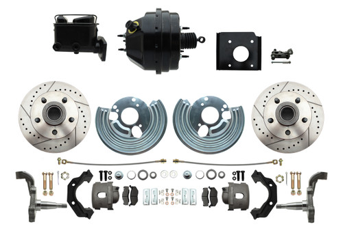 70-74 Cuda Challenger Front Disc Brake Kit Power Booster Drilled Slotted #1478