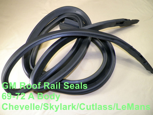 69-72 GM A Body Roof Rail Weatherstrip Seals Chevelle Skylark Cutlass #1523