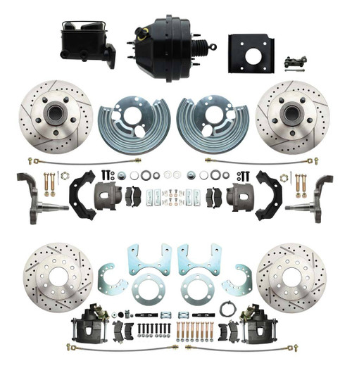 70-74 E Body 71-74 B Ft Rr Disc Brake Conversion Booster Slotted Rotors #1529