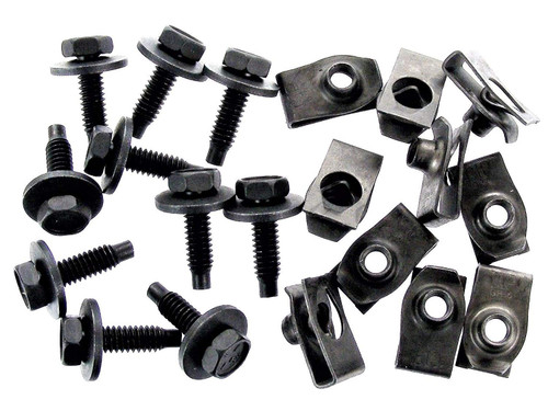 "1/4"" Body Bolts & U-Nut Clips For Ford Lincoln Mercury (10 each) #1538-F"