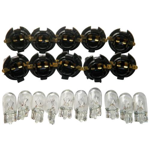 "Ford 5/8"" Dash Bulb Sockets With #194 Bulbs Qty-10 Sockets & 10 Bulbs #1565F"