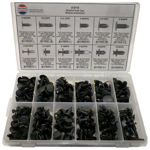 Nylon Shield Push Type Retainer Assortment 12 Sizes (192 Pcs) Plastic Tray #1620