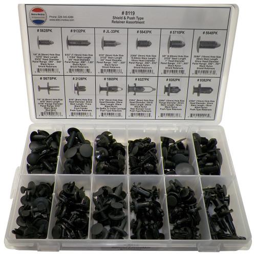 Nylon Shield Push Type Retainer Assortment 12 Sizes (192 Pcs) Plastic Tray #1620