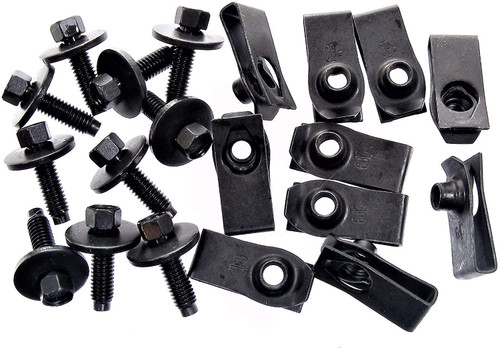Body Bolts & U-Nut Clips M6-1.0 x 22mm Long 8mm Hex Qty-10 Ea #1867 (1911/1925)