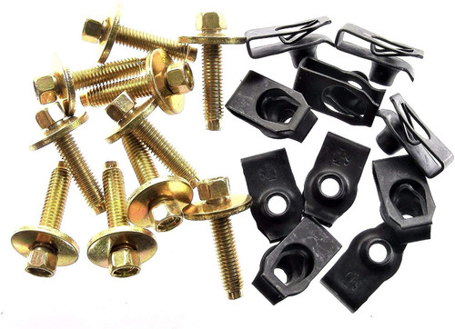 Body Bolts & U-Nut Clips M6-1.0mm x 28mm Long 8mm Hex 10 Each (1912/1928) #1868